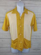 Vintage B.V.D. BRAND Gold Mens Button Up Shirt Size Medium moda d'italia Italy