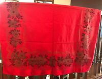 Vintage Printed Linen Tablecloth, Turkey Red +Gold Christmas Poinsettias/Candles