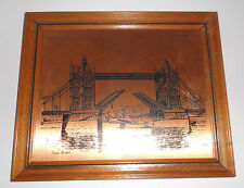 Copper Etching of London's TOWER BRIDGE Framed Made in England by Coppercraft