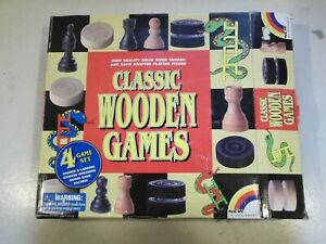 Classic Wooden games 4 game set by NEW entertainment. unused