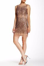 Adrianna Papell Rose Gold Beaded Cocktail Sleeveless Dress - NWT Size 10 $260