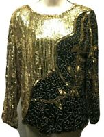 JEAN for JOSEPH LE BON Top M Top Womens Silk Black Gold Sequins Beaded  Vintage