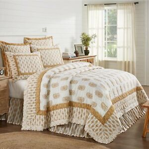 VHC Brands Farmhouse King Quilt Gold Distressed Appearance Avani Bedroom Decor