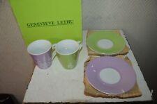 Lot 4 Mug Coffee Espresso and under Mug Genevieve Lethu Ceramic Mint
