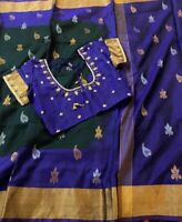 Green Uppada Silk Saree With Blue Blouse And Fall Stitched Size 34-40-USA Seller