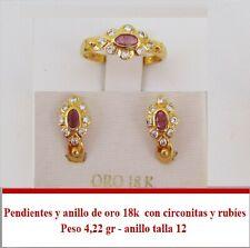 Pendientes y anillo de oro 18k con circonitas y rubíes