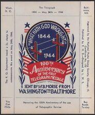 "USA Cinderella: Dietz 1944 Nat'l Poster Stamp Soc. ""Telegraph Anniv"" S/S - ow360"