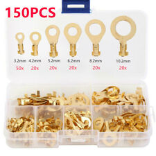 150X Insulated Copper Crimp Ring Terminals Wire Connectors Spade Electrical Kit