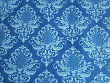 (11,32€/m²) Hilco Hilde Baumwollstoff blau  Ornament 0,50m x1,50m