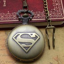 Pocket Watch Chain Necklace Analog Antique Mens Steampunk Superman Sign Bronze