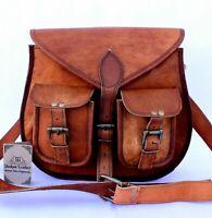Women's Vintage Genuine Brown Leather Messenger Shoulder Cross Body Bag