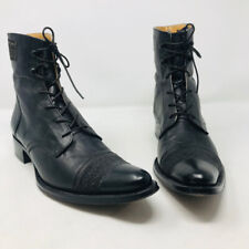 Gianni Barbato 37 Black Leather Ankle Lace Up Boots 2400-516-12820