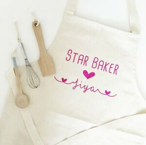 Personalised Children's Star Baker Apron - Kids Mini Chef Girl Boy Cupcake Cook