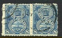 NEW ZEALAND....  1898  8d canoe pair, no wmk  used