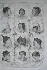 Types of African hairstyles....wood engraving....1869