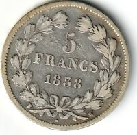 5 FRANCS 1838 W IIe type Domard Lille F.324/74 - TB+