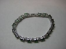 Bracelet with 16.50ctw Beautiful Green & White Sapphire in 14k White Gold Filled