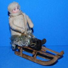 German Antique Christmas cotton bisque Sledder ornament