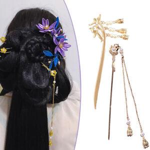 Chinese Magnolia Hair Stick Traditional Hair Chopsticks Vintage Tassel Hair Pin-
