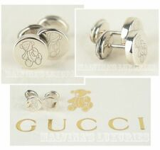 GUCCI EARRINGS STIRLING SILVER STUDS TEDDY BEAR DESIGN NEW IN BOX