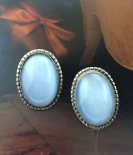 VINTAGE DANECRAFT SIGNED STERLING SILVER 925 MILKY BLUE GLASS EARRINGS