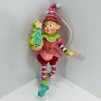 Whimsical Elf Resin Christmas Ornament Pink an Red Outfit Holding Christmas Tree