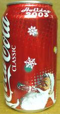 COCA-COLA HOLIDAY 2003 SANTA CLAUS drinking Coke, Soda CAN, CHRISTMAS Grade 1/1+