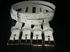 Vintage pram real leather suspension straps in white