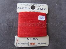 R871 Mercerie ancienne carte fil repriser polyester ALSON DMC 25 4995 rouge