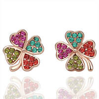 18K Rose GOLD GP Multi Colour Four Leaf Clover Stud Earings Rhinestone Crystal