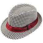 Kid Boy Girl Popular Canva Cotton Fedora Cap Sun Hat Trilby Flat Top Topper Jazz