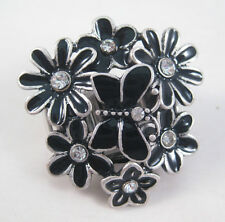 Brand New Colorful Butterfly & Flower Stretch Ring with Crystals #R1153