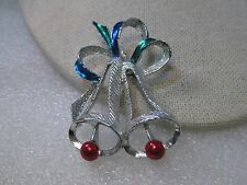 Vintage Silver Tone Christmas Bells Enameled Brooch, signed Gerry's, 1960's