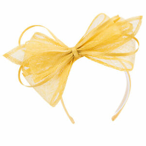 Women Yellow Derby Sinamay Fascinator Wedding Hat Headband Headpiece T453