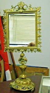Adjustable Ornate Antique French Brass Pedestal Vanity Mirror with Lions Cherubs