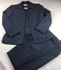 Kasper Petite Womens 3pc Suit Bluish Gray Career, Formal Lined- Size 6P