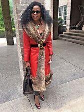 Vtg Designer Samuel Robert Lipstick red leather & Raccoon fur trim Jacket Coat S
