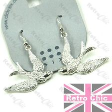 RETRO SWALLOW birds EARRINGS silver tone DROP bird ROCKABILLY SWALLOWS vintage