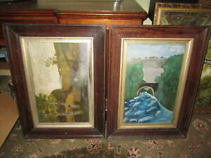 A pair of old oak picture frames