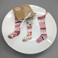 x4 222 FIFTH Winter Cheer Appetizer Plate Set Primitive Christmas Stocking NEW