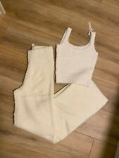 SKIMS Cozy Knit Tank and Pant set in Bone color
