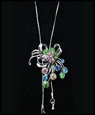SUPER Collier cravate, pendentif argenté orné de strass, bijoux fantaisie NEUF