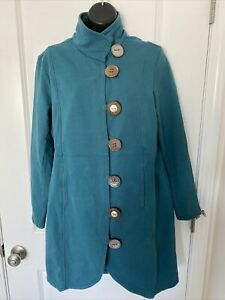 Neon Buddha Jacket Large Buttons Teal Green Lagenlook Long Sleeve Pockets Sz L