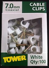 TOWER 100 WHITE 7MM ROUND CABLE CLIPS TV AERIAL SATELLITE SKY COAX FLEX