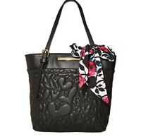 LUV Betsey Johnson Quilted Heart Black Tote Handbag scarf purse NEW STYLE