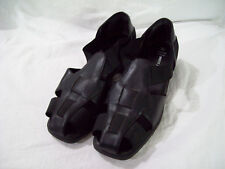 WHITE STAG Women's Ladies Black Leather Elastic Sandals Sandra sz 8