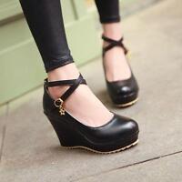 2017 New Elegant Fashion Sweet Womens High Wedge Heel Platform Cross Strap Shoes
