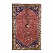 "6'7""x9'4"" Red Vintage Pure Wool Hand Knotted Exc Condition Tribal Rug R47418"