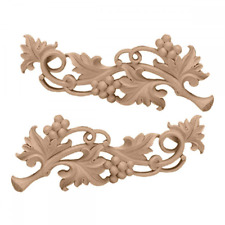 Large Grape Scrolls Pair, 14 1/2-Inch x 5 5/8-Inch x 1-Inch, Maple