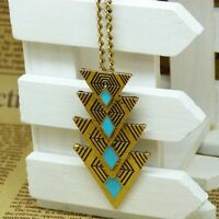 Charm Pendant Boho Women Multi Triangle Long Chain Sweater Necklace Jewelry Gift